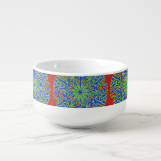 Decorative Green Blue Red Soup Mug