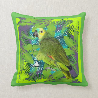 DECORATIVE GREEN PARROT JUNGLE ART DESIGN THROW PILLOW