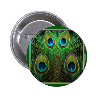 Decorative Green Peacock Feather Eyes 2 Inch Round Button