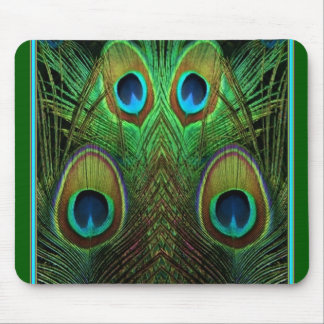 Decorative Green Peacock Feather Eyes Mouse Pad