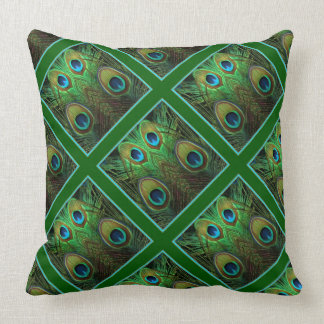 Decorative Green Peacock Feathers Pattern Pillows