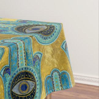 Decorative Hamsa Hand pattern on gold Tablecloth