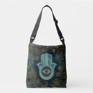 Decorative Hamsa Hand with paisley background Crossbody Bag