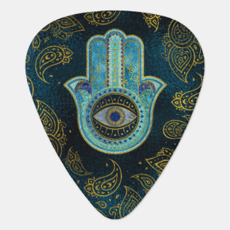 Decorative Hamsa Hand with paisley background Guitar Pick