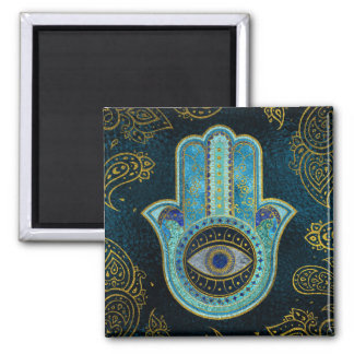 Decorative Hamsa Hand with paisley background Magnet