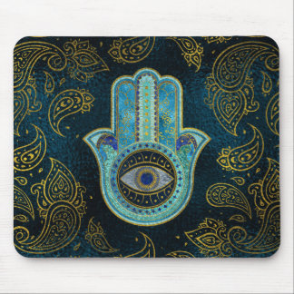 Decorative Hamsa Hand with paisley background Mouse Pad