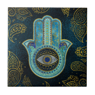 Decorative Hamsa Hand with paisley background Tile