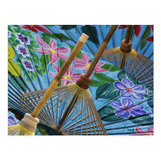 Decorative hand painted umbrellas in the village postcard