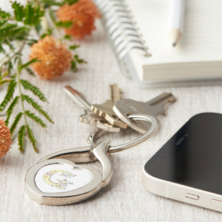 Decorative hearts flowers initial letter G keyring Silver-Colored Twisted Heart Keychain