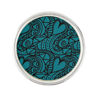 Decorative Hearts Pattern In Turquoise Lapel Pin