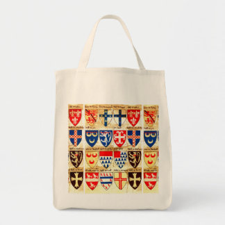 Decorative Heraldry Pattern Grocery Tote Bag