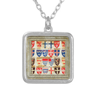 Decorative Heraldry Pattern Silver Plated Necklace
