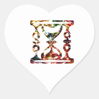 Decorative Hour Glass - Sparkling Red Design Heart Sticker