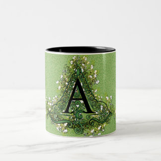"Decorative Initial ""A"" Two-Tone Coffee Mug"