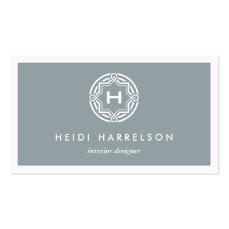 DECORATIVE INITIAL LOGO on SLATE GRAY Pack Of Standard Business Cards