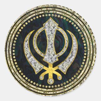 Decorative Khanda symbol with gemstones & gold Classic Round Sticker