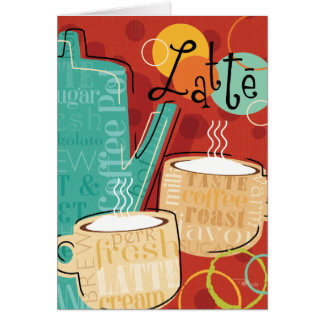 Decorative Latte Pot and Cups Card