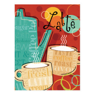 Decorative Latte Pot and Cups Postcard