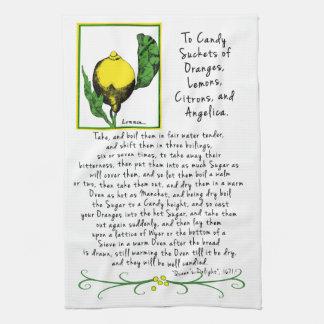 Decorative Lemon Art Tea Towel with Antique Recipe