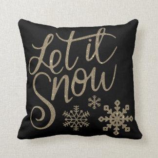 Decorative Let it Snow Crystal Snowflake Christmas Throw Pillow