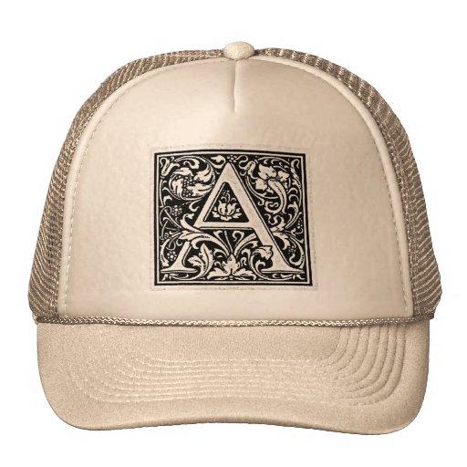 "Decorative Letter ""A"" Woodcut Woodblock Inital Trucker Hats"