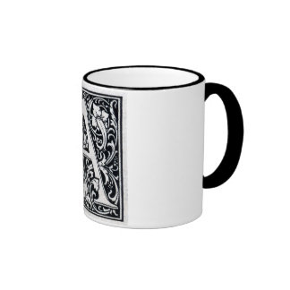"Decorative Letter ""A"" Woodcut Woodblock Inital Coffee Mug"
