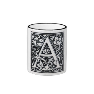 "Decorative Letter ""A"" Woodcut Woodblock Inital Ringer Mug"