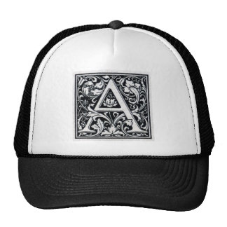 "Decorative Letter ""A"" Woodcut Woodblock Inital Trucker Hat"