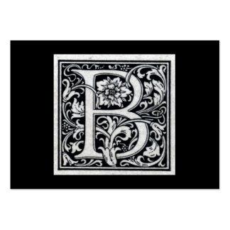 "Decorative Letter ""B"" Woodcut Woodblock Inital Business Card"