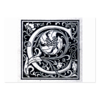"""Decorative Letter """"C"""" Woodcut Woodblock Initial Business Card Template"""
