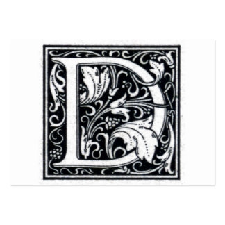 "Decorative Letter ""D"" Woodcut Woodblock InitIal Business Card"