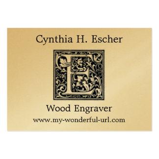 "Decorative Letter ""E"" Woodcut Woodblock Inital Large Business Card"