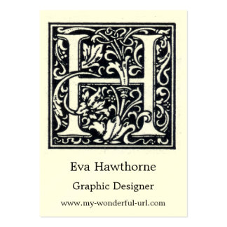 "Decorative Letter ""H"" Woodcut Woodblock Inital Business Card Template"