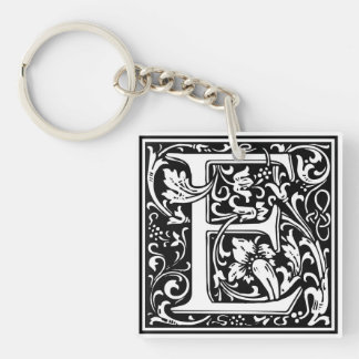 "Decorative Letter Initial ""E"" Single-Sided Square Acrylic Keychain"