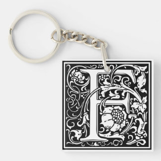 "Decorative Letter Initial ""F"" Single-Sided Square Acrylic Keychain"