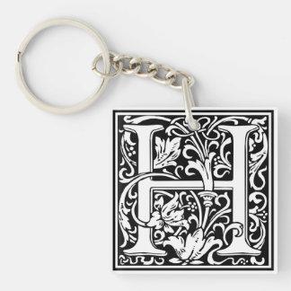 "DecorativeLetter Initial ""H"" Single-Sided Square Acrylic Keychain"