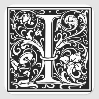 "Decorative Letter Initial ""I"" Square Sticker"