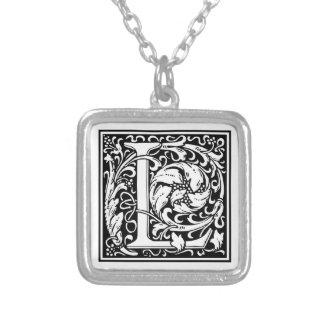 "DecorativeLetter Initial ""L"" Square Pendant Necklace"