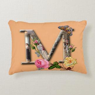 "Decorative Letter Initial ""M"" Accent Pillow"