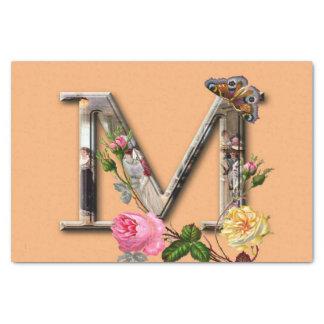 "Decorative Letter Initial ""M"" Tissue Paper"
