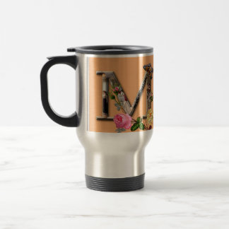 "Decorative Letter Initial ""M"" Travel Mug"