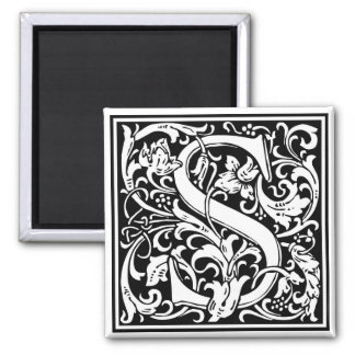 "Decorative Letter Initial ""S"" Square Magnet"