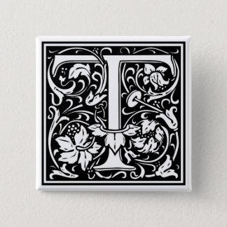 """DecorativeLetter Initial """"T"""" 2 Inch Square Button"""