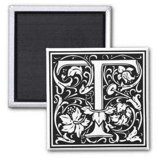 "Decorative Letter Initial ""T"" Square Magnet"