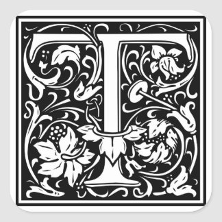 """DecorativeLetter Initial """"T"""" Square Sticker"""