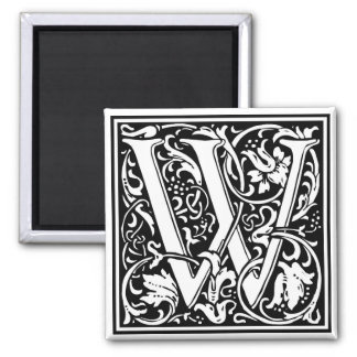 "Decorative Letter Initial ""W"" Square Magnet"