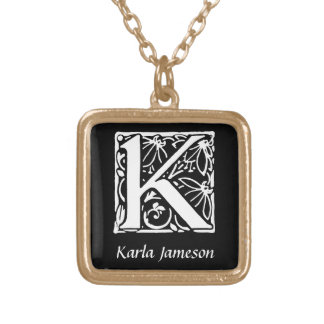 Decorative Letter K Monogram Initial Personalized Gold Plated Necklace