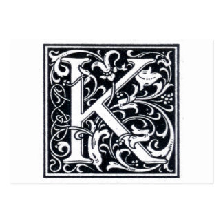 """Decorative Letter """"K"""" Woodcut Woodblock Initial Business Card Template"""