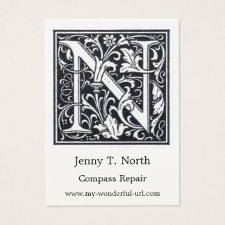 """Decorative Letter """"N Woodcut Woodblock Initial Business Card"""