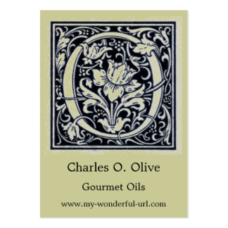 """Decorative Letter """"O"""" Woodcut Woodblock Initial Large Business Card"""